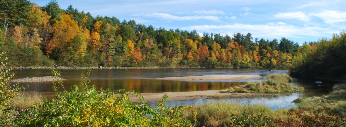 Merrimack River in Autumn in Concord, New Hampshire. Photo by Emily Lord.